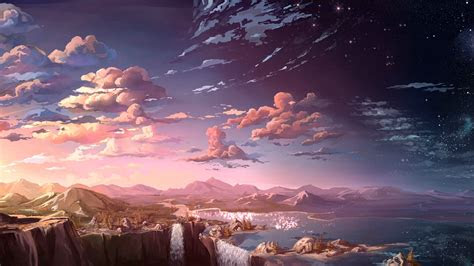 anime  anime landscape waterfall clouds natural