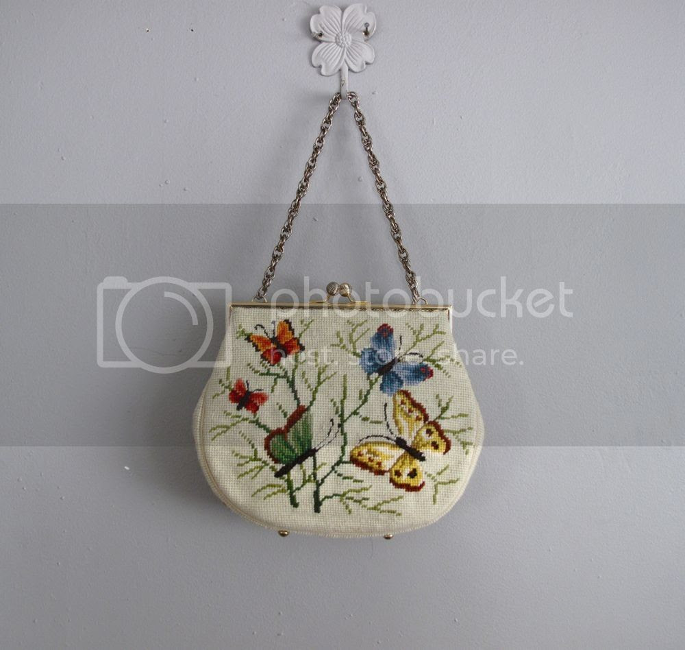 Purse, Chronically Vintage, fashion, vintage purse, vintage bag, bags, handbags, embroidery, needlework, crafts, butterflies, spring, white, colourful, accessories, womens, etsy, clothing, ladies, girls, 1940s, 1950s, retro, summer, vacation ware, evening bag, chain strap