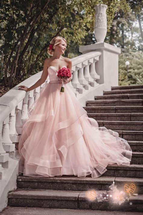 Luxurious Sweetheart Pink 2018 Wedding Dress Tulle Ruffles