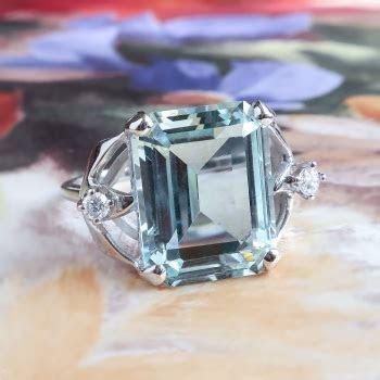 Vintage Aquamarine Diamond Ring 1960's 8.86ct t.w. Emerald
