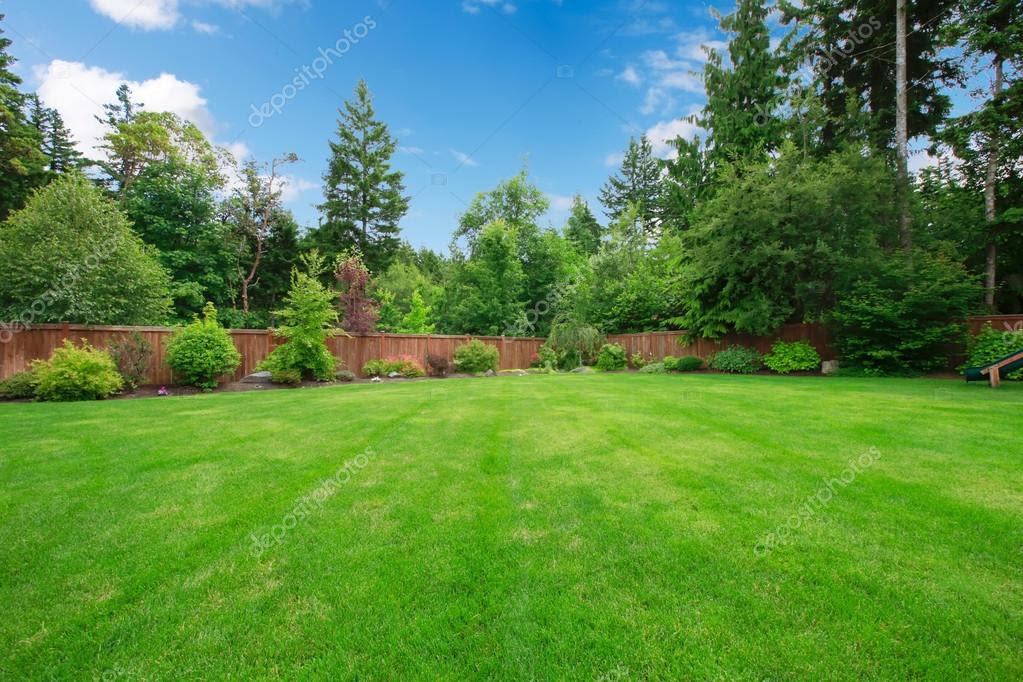 depositphotos_13894552 stock photo green large fenced backyard with