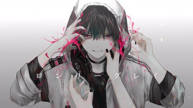 Wallpaper Cool Anime Boy, Hoodie, Headphones, Hands ...