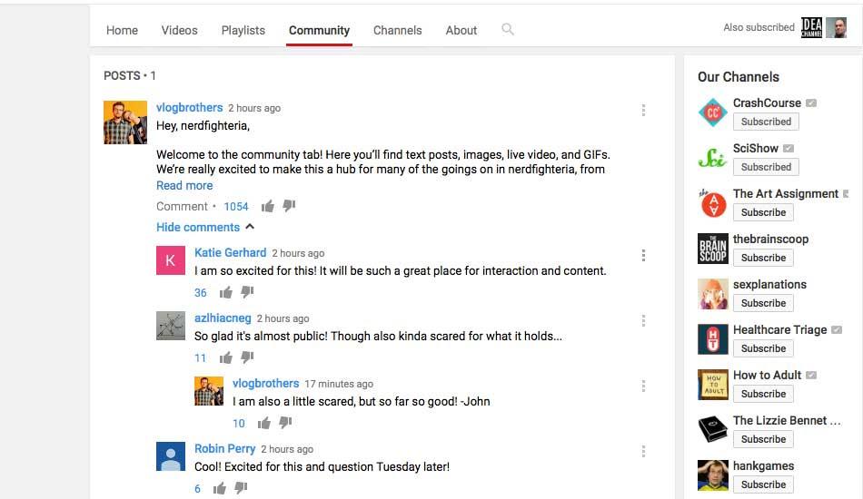 قنوات يوتيوب تحصل على مزايا الشبكات الاجتماعية