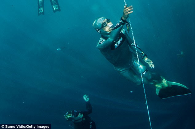 Ryuzo Shinomiya of Japan in action during the Suunto free diving world cup