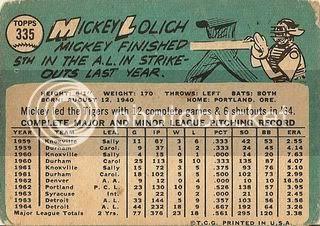 #335 Mickey Lolich (back)