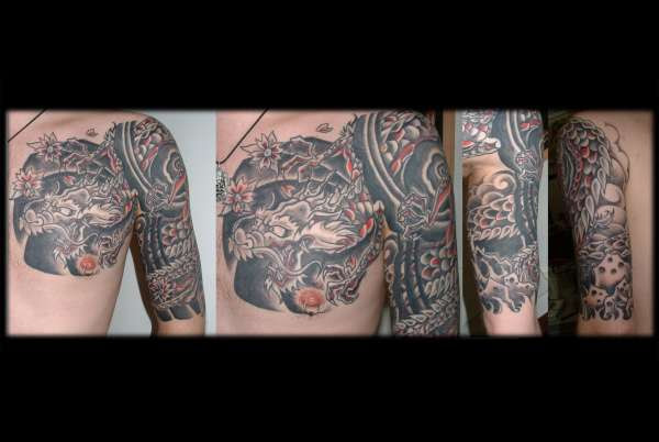 Japanese Dragon Half Sleeve Chest Plate Tattoo