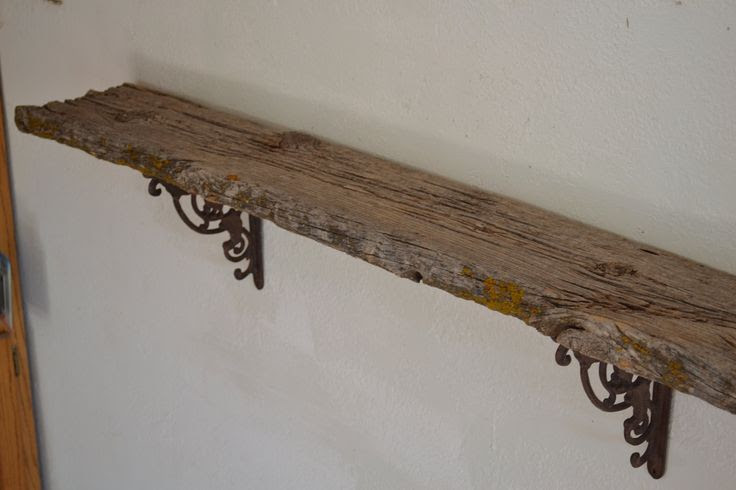 Riverside Road weathered barn wood wall shelf simple and unique 53 in…