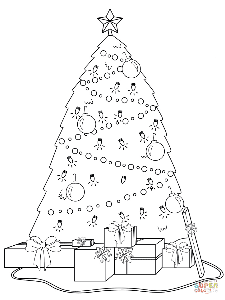 Decorated Christmas Tree with Presents Under It coloring ...