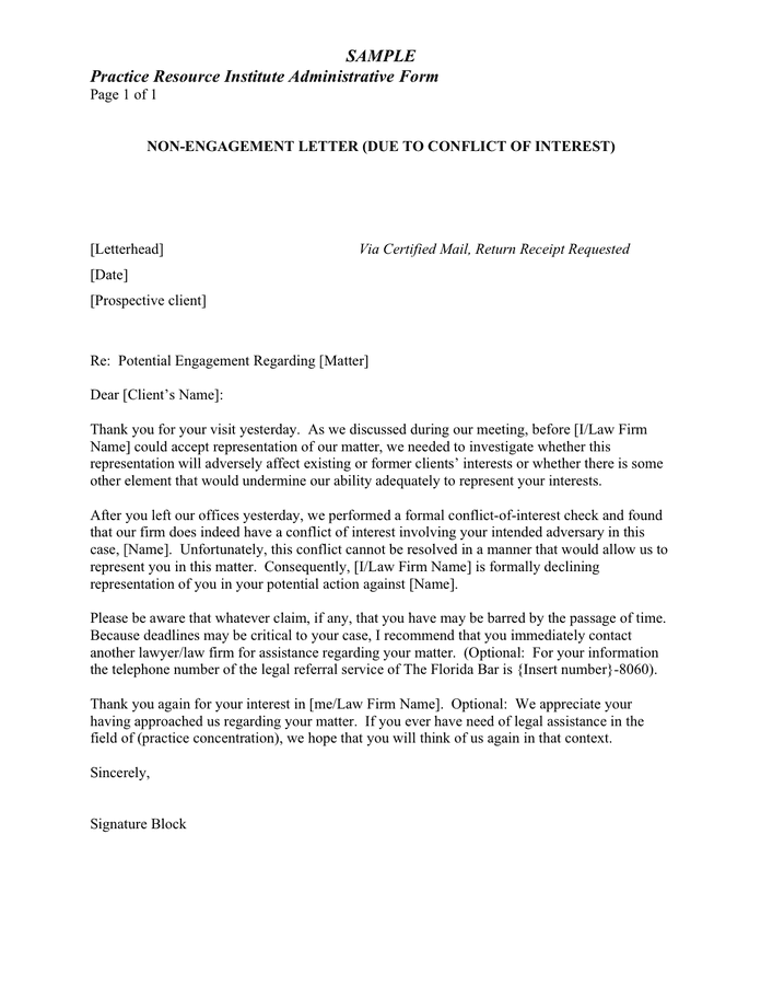 Law Firm Engagement Letter Sample