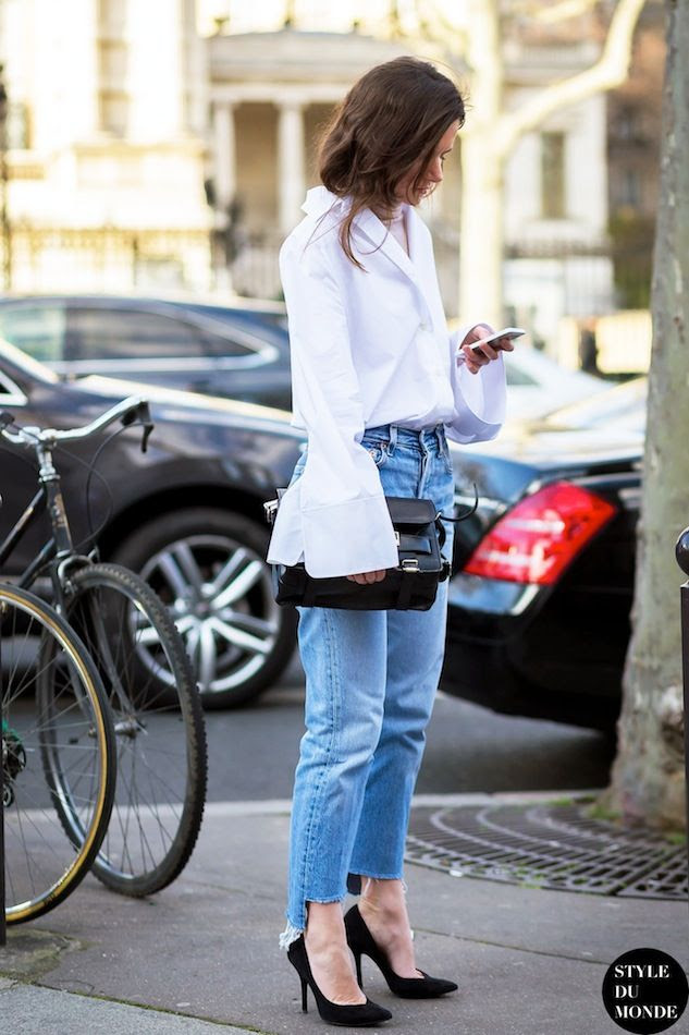Le Fashion Blog Street Style Bell Flare Sleeve White Acne Shirt Proenza Schouler PS11 Bag Raw Hem Jeans Via Style Du Monde photo Le-Fashion-Blog-Street-Style-Bell-Flare-Sleeve-White-Acne-Shirt-Proenza-Schouler-PS11-Bag-Raw-Hem-Jeans-Via-Style-Du-Monde.jpg