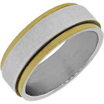 Stainless Steel Gold Silver-Tone Lords Prayer Spanish Padre Nuestro Spinner Ring Band