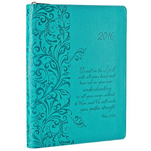 2016 Turquoise Blue 18 Month Zippered Inspirational Daily Planner ...