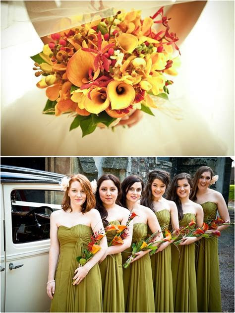 Burnt orange overarm bouquets with calla lilies and