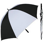 RainStoppers W028BLW 68 in. Manual Open Huge Black & White Golf Umbrella with Foam Handle 3 Piece
