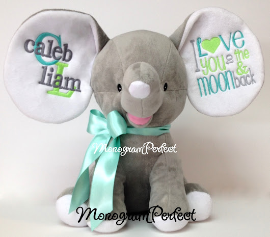 Personalized Gray Floppy Ear Stuffed Elephant - I Love You to the Moon and Back (Aqua, Light Lime & Gray)