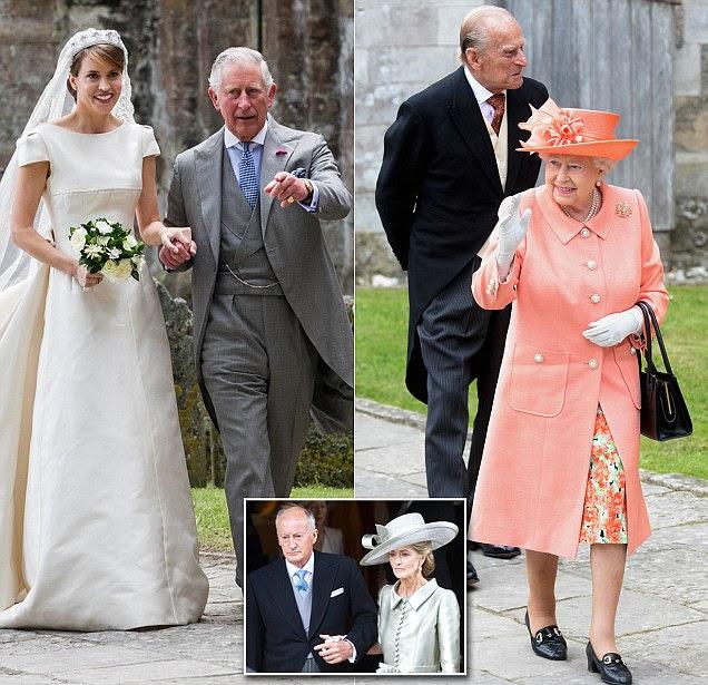 A rainha chega no casamento de Alexandra Knatchbull como o príncipe Charles dá a noiva afastado
