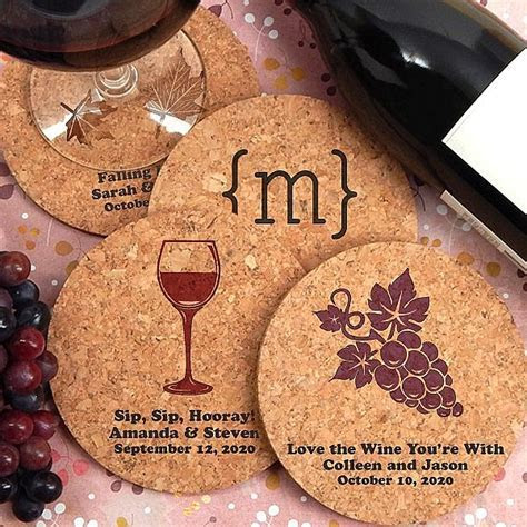 Round Cork Drink Coaster Favors Personalized