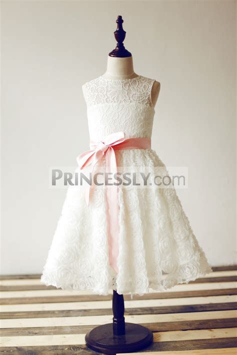 Keyhole Back Ivory Lace 3D Rosette Flower Girl Dress with