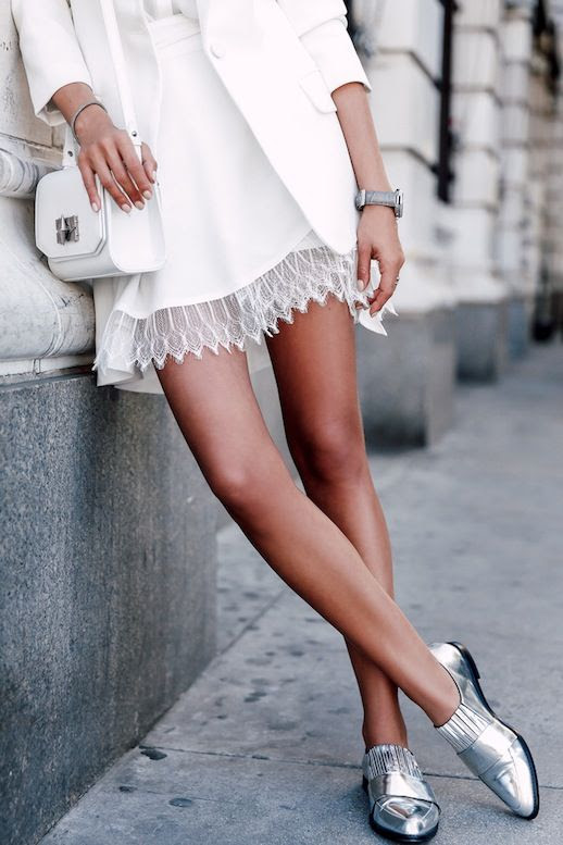 Le Fashion Blog Blogger Style Color Combo White And Silver Look Blazer Shirt Mini Bag Lace Hem Skirt Metallic Loafers Via Viva Luxury