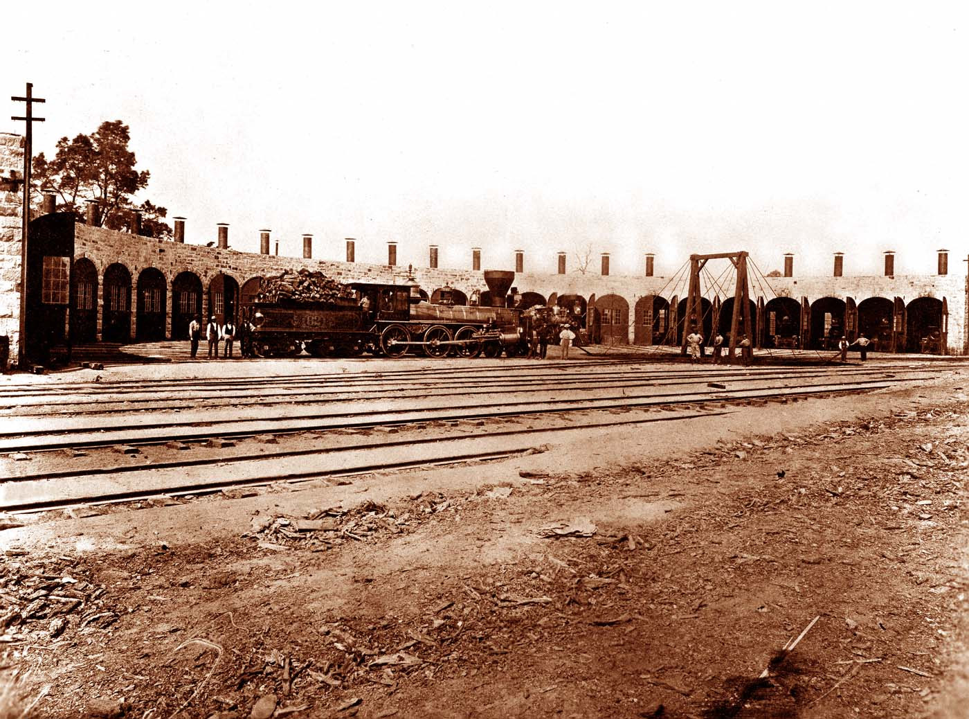 Timothy O'Sullivan photograph of the Central Pacific Railroad Roundhouse at Rocklin, California.  Courtesy USGS.