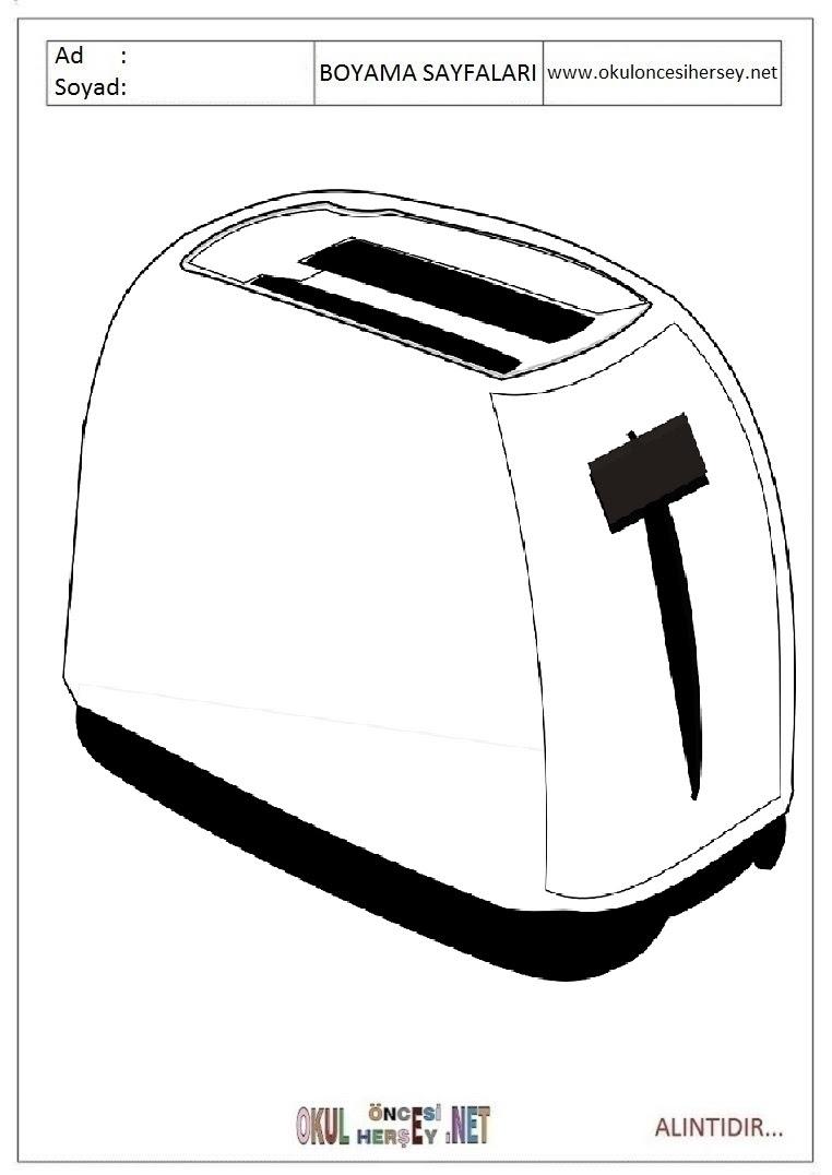 Ekmek Kızartma Makinesi Boyama Sayfaları