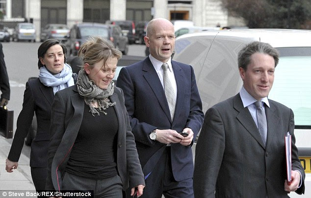 Stress: Pitt reportedly became annoyed after his wife appointed William Hague's former colleagues Arminka Helic and Chloe Dalton to assist her with her political career (pictured)