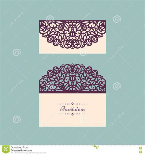 Lazercut Vector Wedding Invitation Template. Wedding