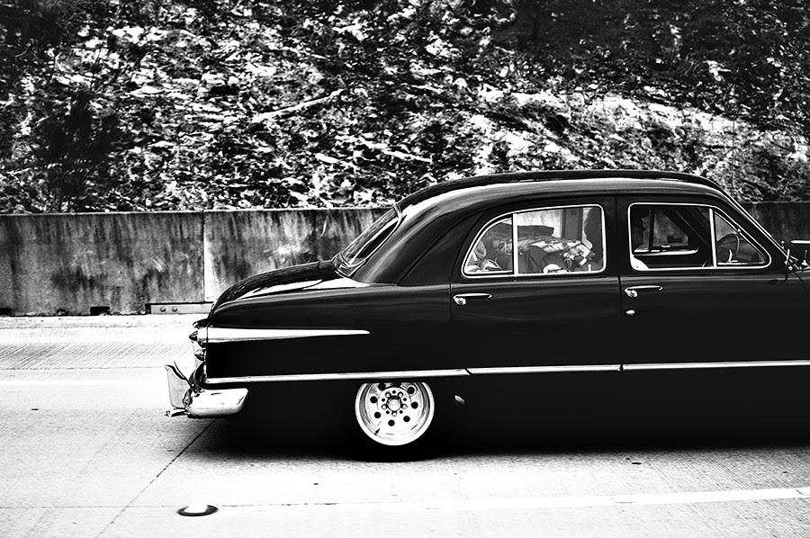 bw old car white road