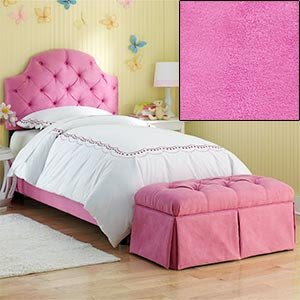 Amazon.com - Hot Pink Tufted Twin Bed with Bench Upholstered ...