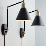 360 Lighting Wray Black and Antique Brass Plug-In Wall Lamp Set of 2