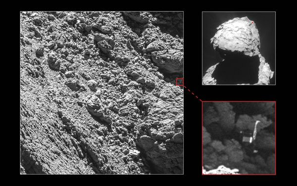 Images of comet 67P/Churyumov–Gerasimenko and the Philae lander on its surface, as seen by ESA's Rosetta spacecraft on September 2, 2016.