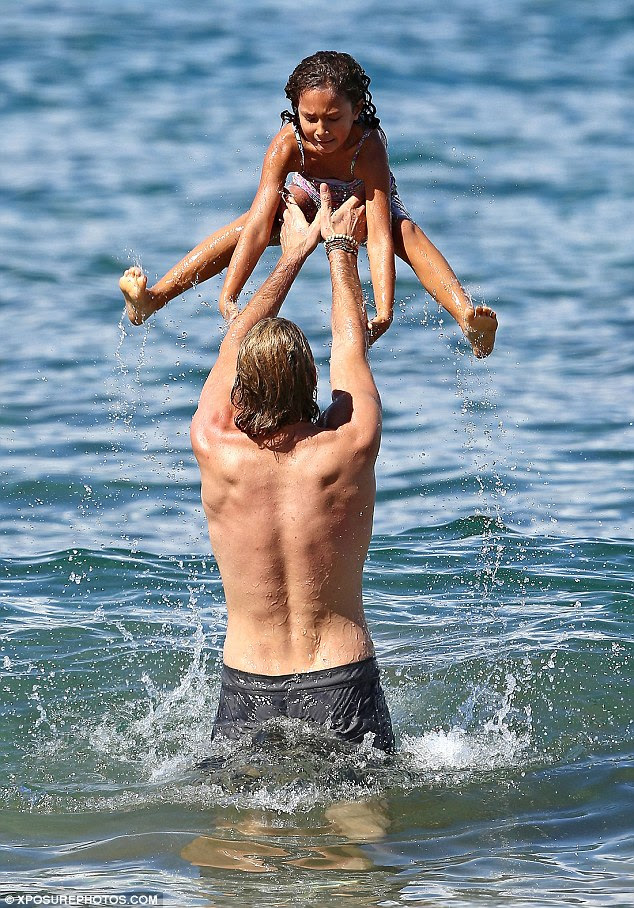 Splash: Gabriel Aubry treated his daughter Nahla to some fun and sun in Maui, Hawaii over the weekend