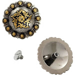 """2 Pack 1-1/2"""" Floral Berry Concho With Chicago Screws By Hill Leather Company"""