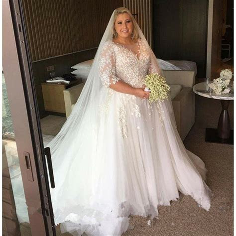 size wedding dress applique tulle bridal gown custom