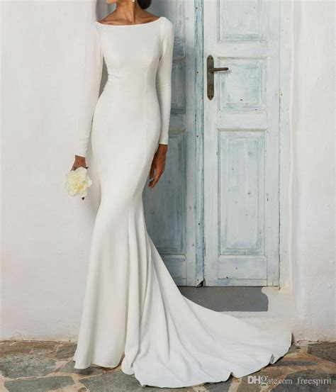 Simple Long Sleeve Wedding Dress With Beaded Illusion Back
