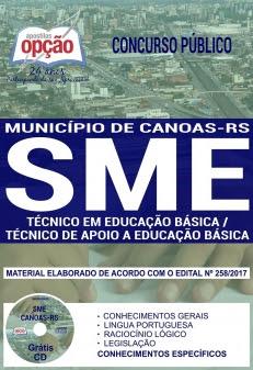 Concurso SME Canoas 2017-TÉCNICO EM EDUCAÇÃO BÁSICA / TÉCNICO DE APOIO A EDUCAÇÃO BÁSICA