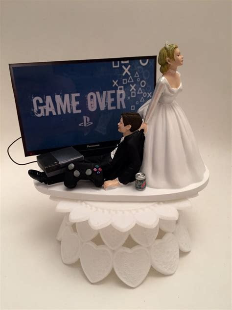 GAME OVER Bride And Groom PS4 Funny Wedding Cake Topper