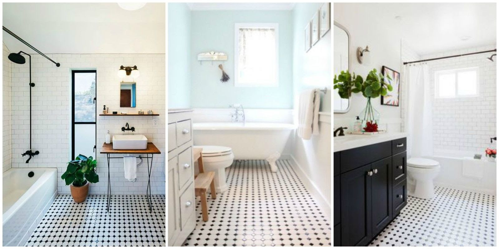 Classic Black and White Tiled Bathroom Floors are Making a ...