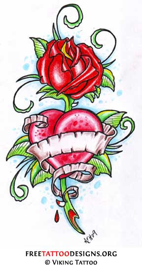 Rose And Heart Tattoos Rynakimley
