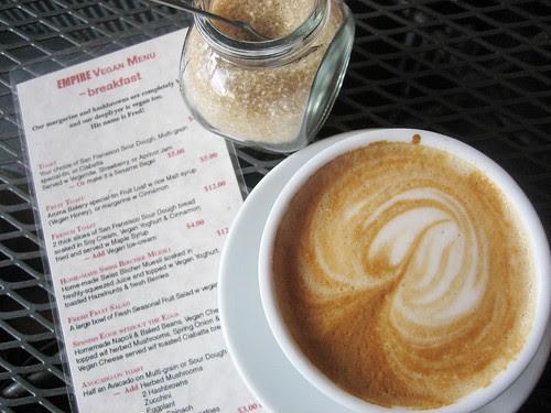 coffee and the vegan menu at empire