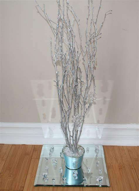 cheap winter wedding centerpieces painted ice blue tin