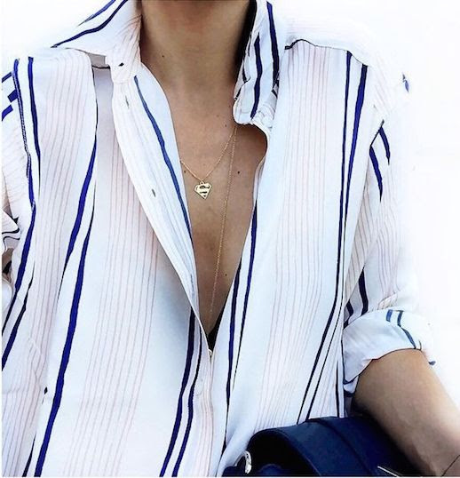 Le Fashion Blog 25 Ways To Wear A Striped Button Down Shirt Blue Stripes Superman Necklace Via Marianna G Opened Blogger Style