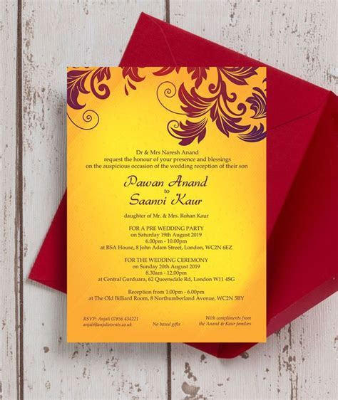 Yellow & Burgundy Indian / Asian Wedding Invitation in