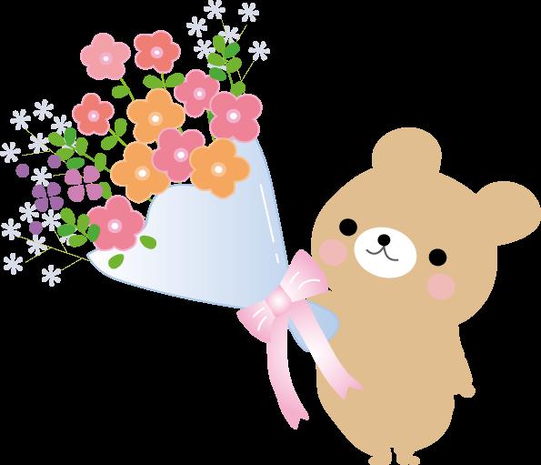 お祝い花束とケーキのイラスト無料素材
