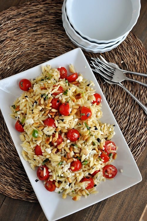 Orzo Pasta Salad with Tomatoes, Basil & Feta cheese