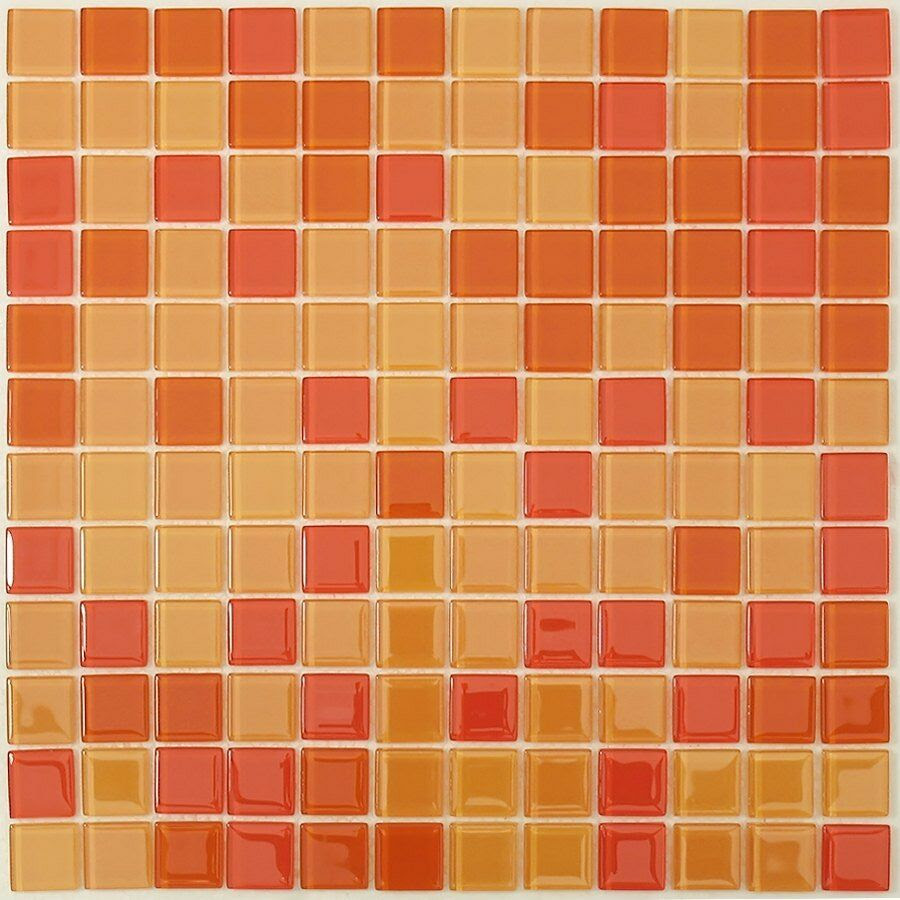 Orange and Red Mix Glass Mosaic Tile for Bathroom, Kitchen ...