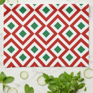 Red, White, Green Meander Kitchen Towels
