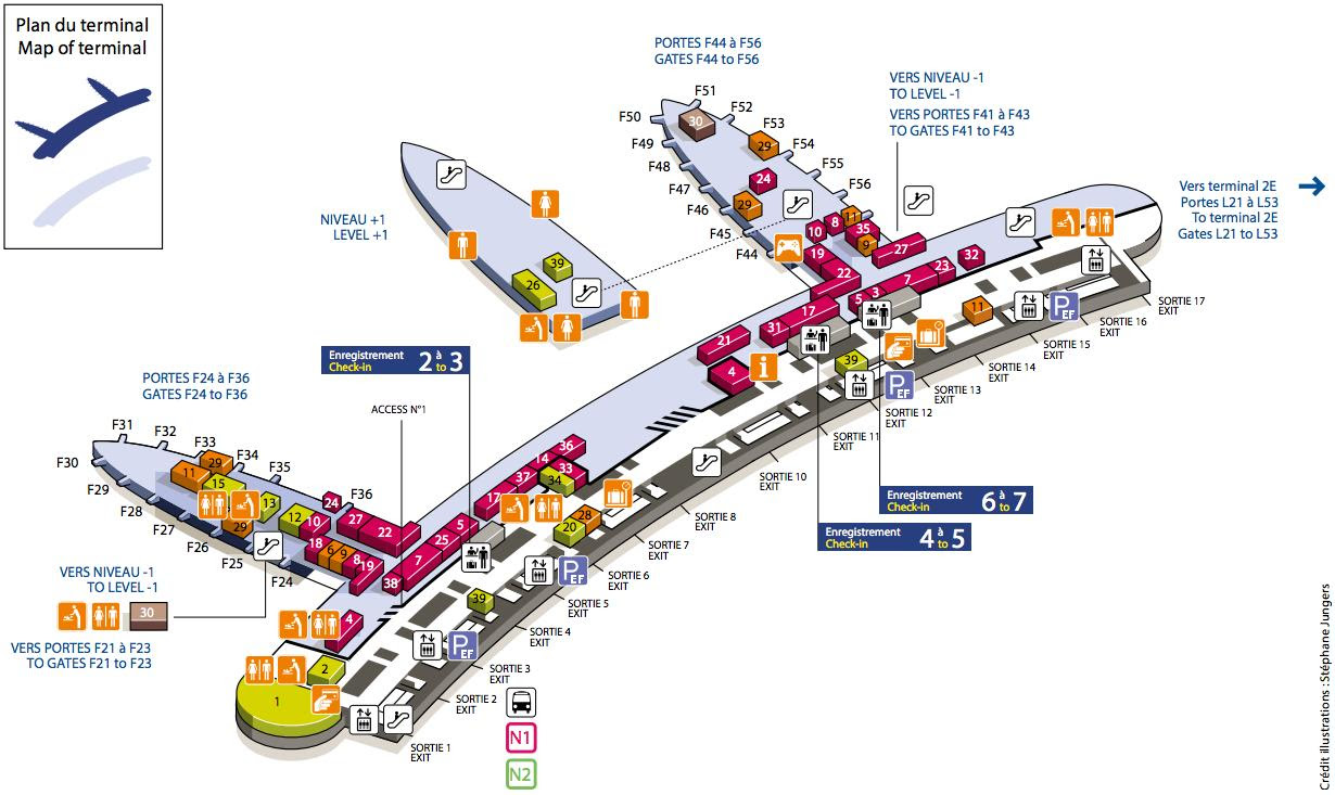 cdg airport terminal 2f map