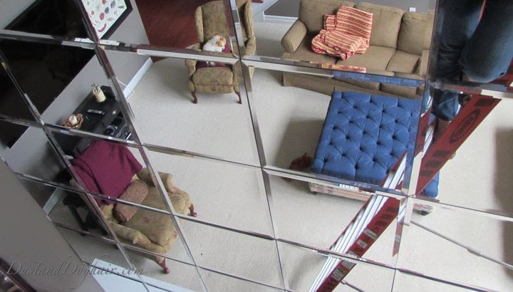 diy beveled mirror tile overmantel, fireplaces mantels, home decor, home improvement, living room ideas, wall decor