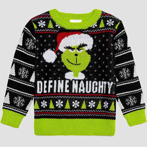Toddler Boys Dr Seuss Grinch Ugly Holiday Sweater Black 5t